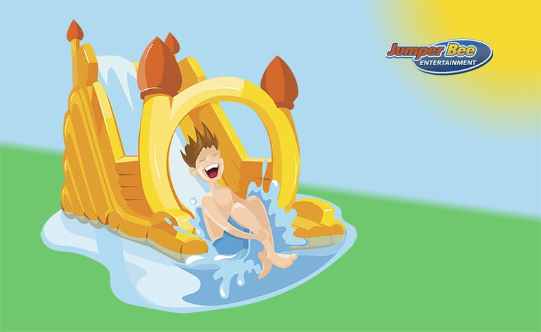 Cartoon Image of a boy sliding down and inflatable water slide